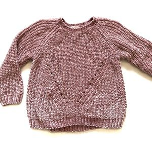 Chenille mauve lilac cropped sweater open weave XS